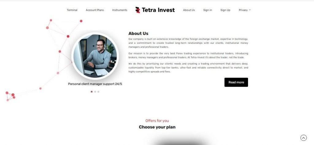 Описание компании Tetra Invest на сайте брокера